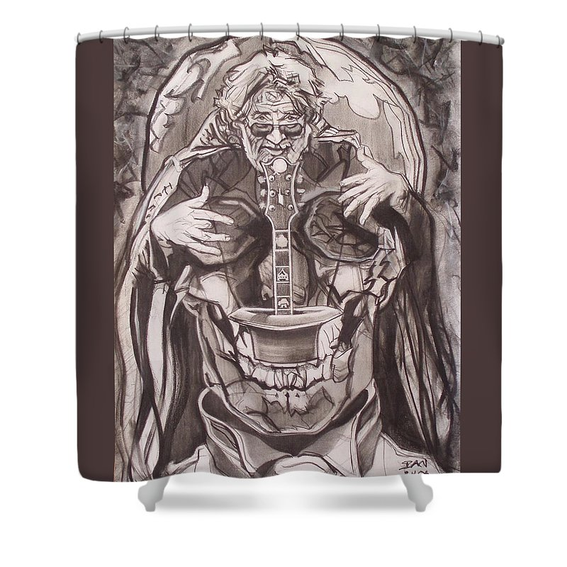 Charcoal Shower Curtain featuring the drawing Jerry Garcia . . Magic Is What We Do - Music Is How We Do It by Sean Connolly