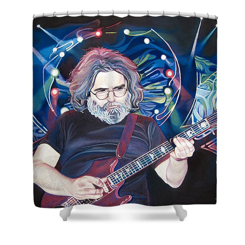 Jerry Garcia Shower Curtain featuring the drawing Jerry Garcia And Lights by Joshua Morton