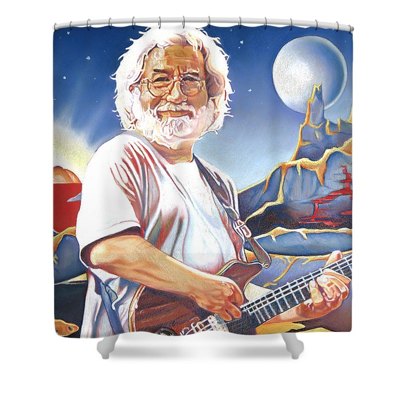 Jerry Garcia Shower Curtain featuring the drawing Jerry Garcia Live At The Mars Hotel by Joshua Morton