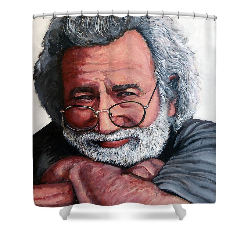 Jerry Shower Curtain featuring the painting Jerry Garcia by Tom Roderick