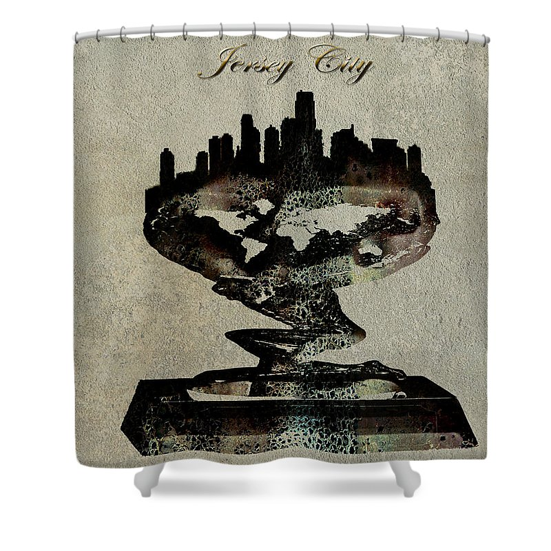 Jersey City Shower Curtain featuring the digital art Jersey City Skyline by Brian Reaves