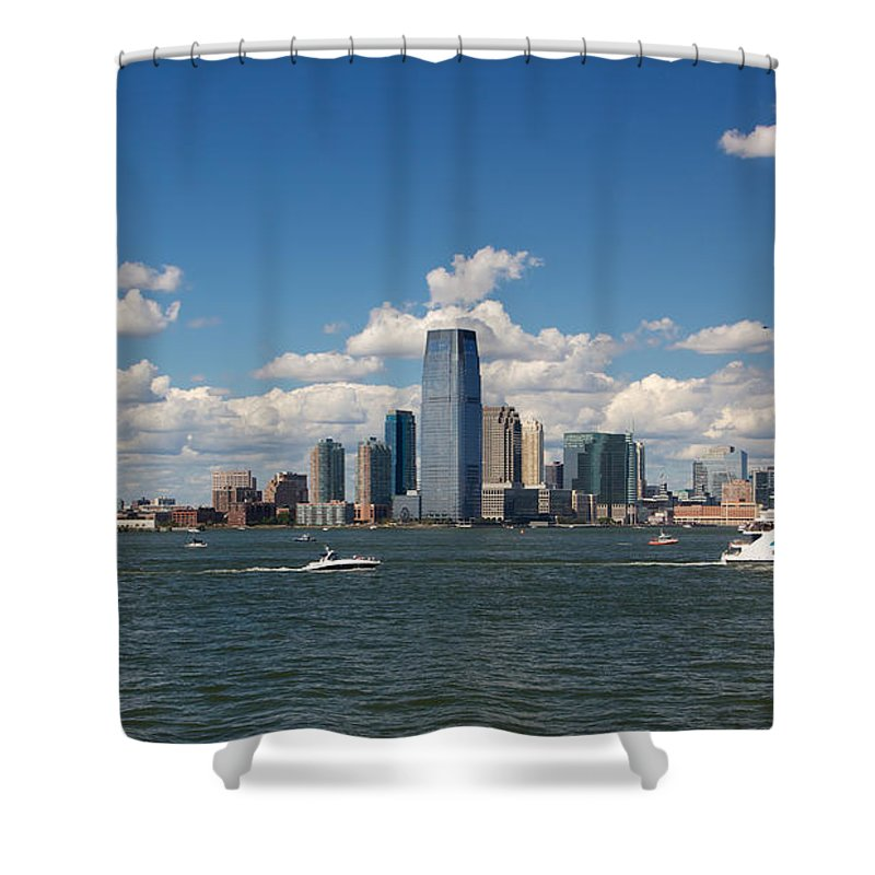 Architecture Shower Curtain featuring the photograph Jersey City Skyline From Harbor by Jannis Werner