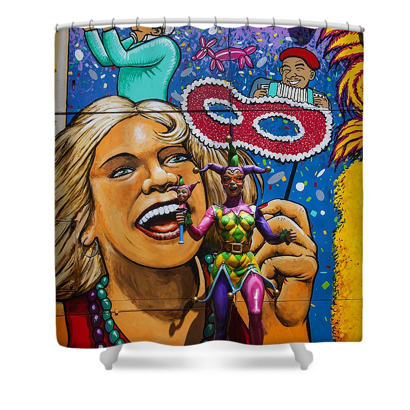 Jester Statue Shower Curtain featuring the photograph Jester Statue At The Fair by Garry Gay