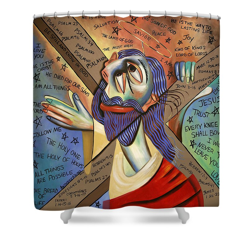 Jesus Shower Curtain featuring the painting Jesus by Anthony Falbo