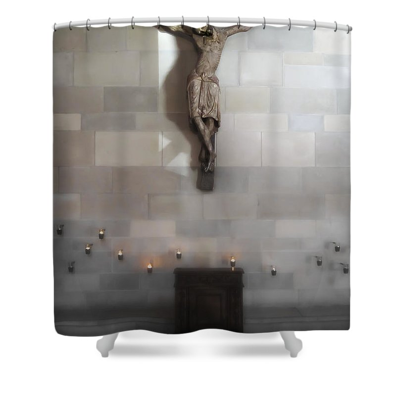 Jesus Shower Curtain featuring the photograph Jesus Chapel Icon - San Francisco by Daniel Hagerman