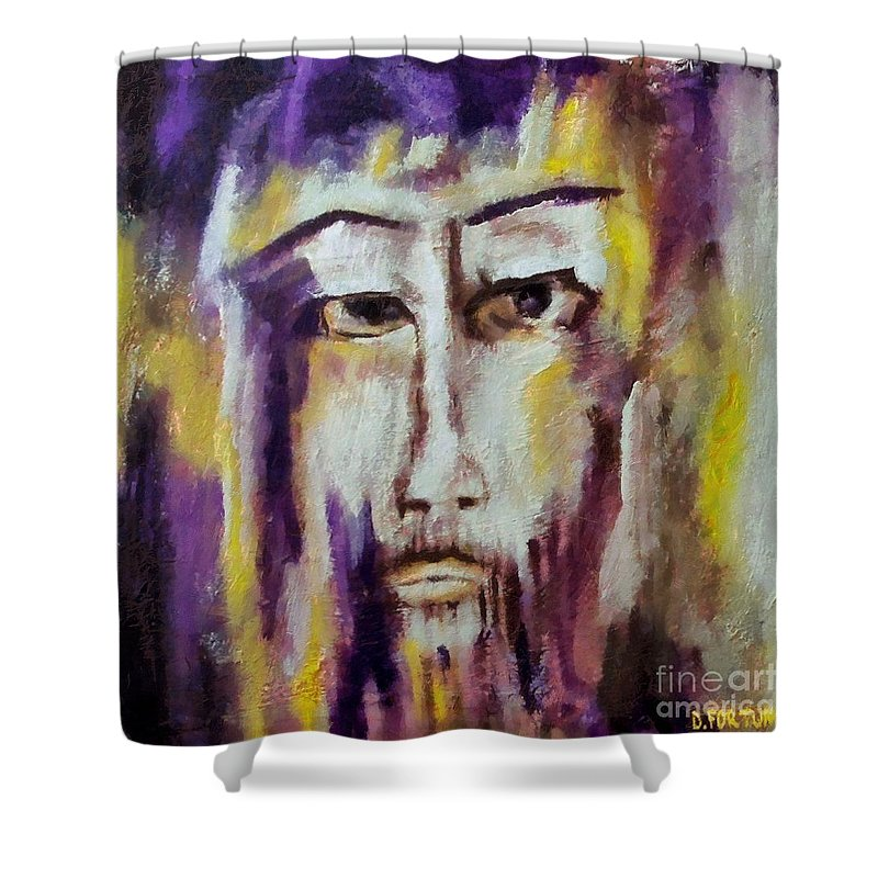 Sacred Shower Curtain featuring the mixed media Jesus by Dragica Micki Fortuna