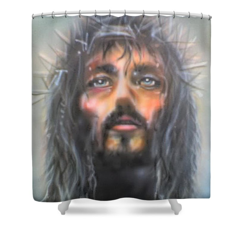 Shower Curtain featuring the painting Jesus by Keith Spence