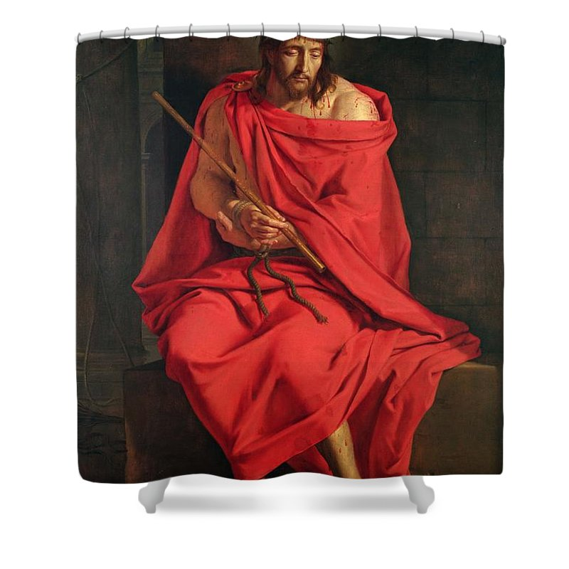 Male Shower Curtain featuring the photograph Jesus Mocked Oil On Canvas by Philippe de Champaigne