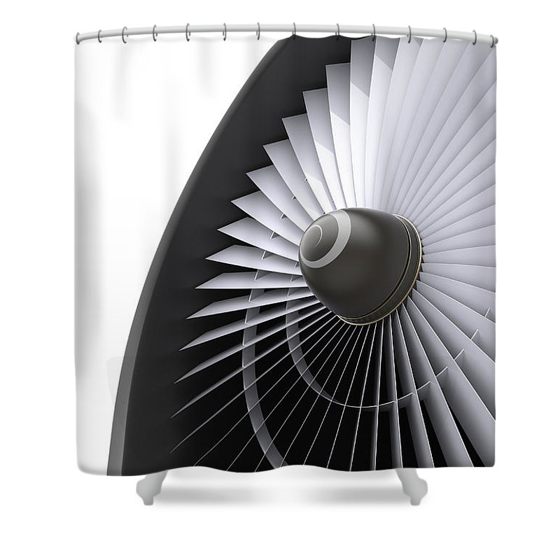 Engine Shower Curtain featuring the photograph Jet Turbine by Klenger