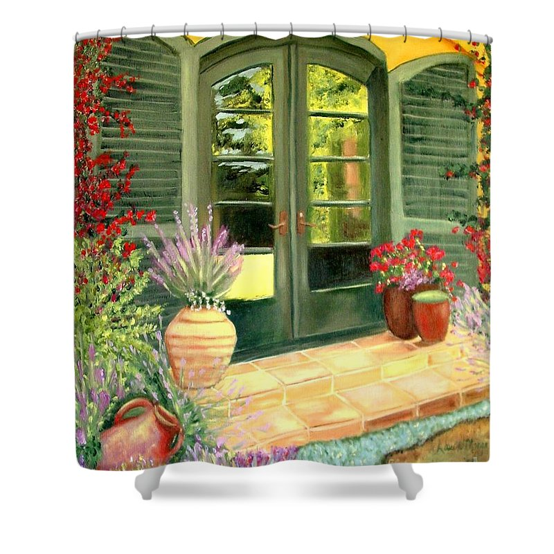 Shutters Shower Curtain featuring the painting Jill's Patio by Laurie Morgan
