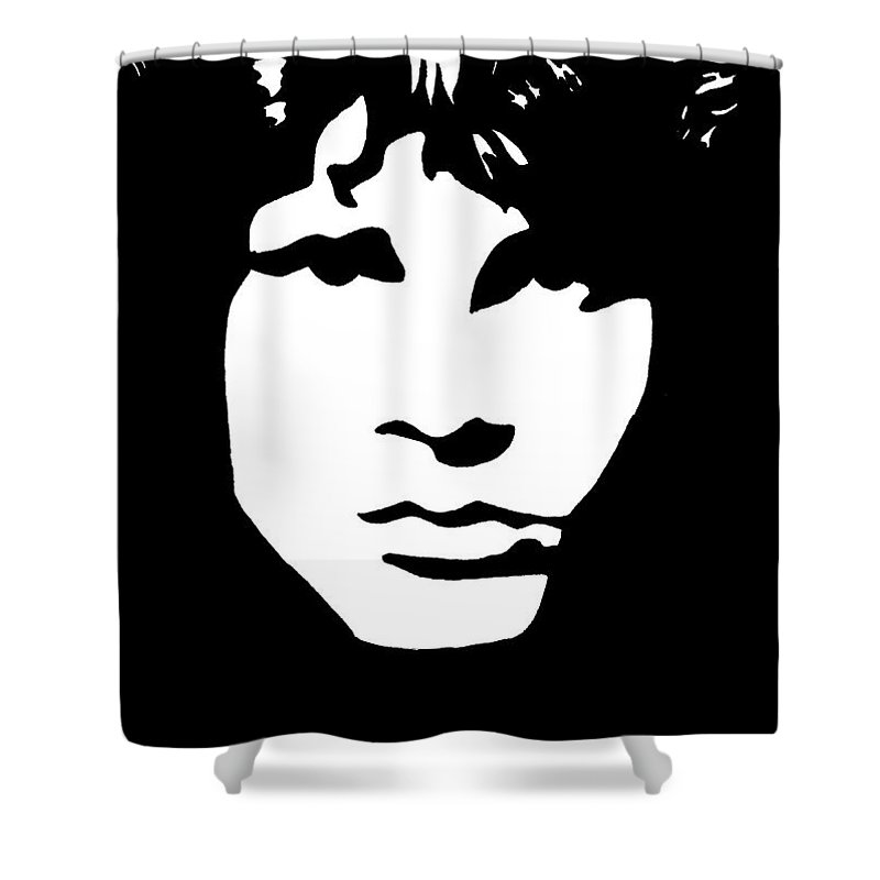 Black White Shower Curtain featuring the drawing Jim Morrison by Yael Rosen