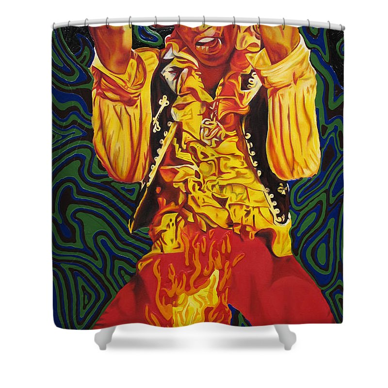 Jimi Hendrix Shower Curtain Featuring The Painting Jimi Hendrix Fire By  Joshua Morton