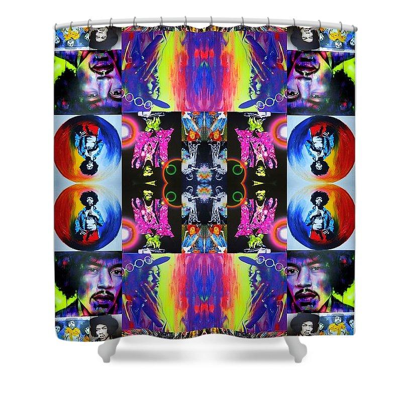 Jimi Hendrix Shower Curtain featuring the painting Jimi Kaleidoscope I by Christian Chapman Art