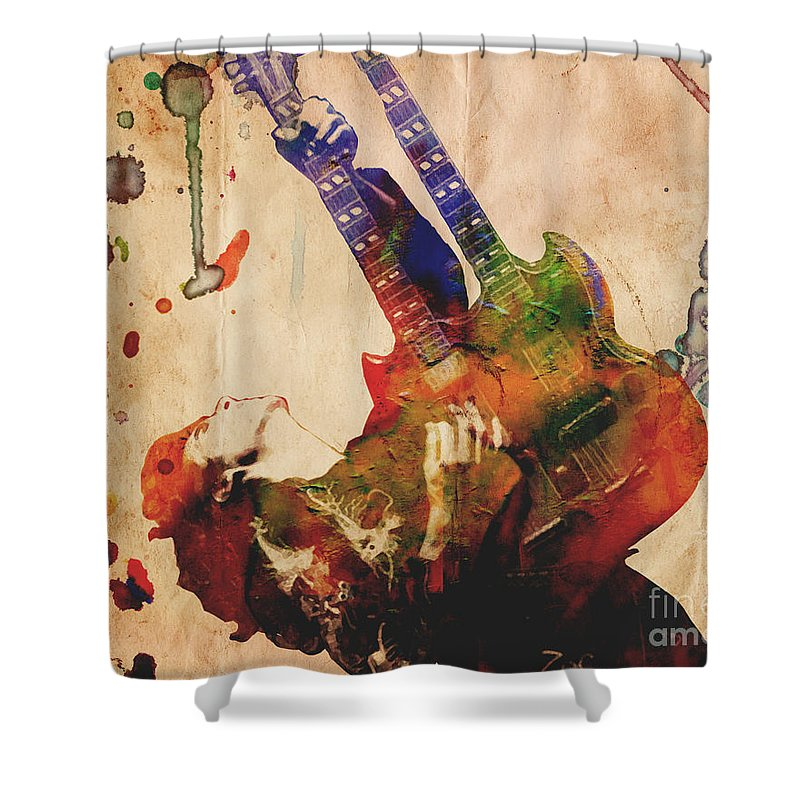 Rock N Roll Shower Curtain Featuring The Painting Jimmy Page