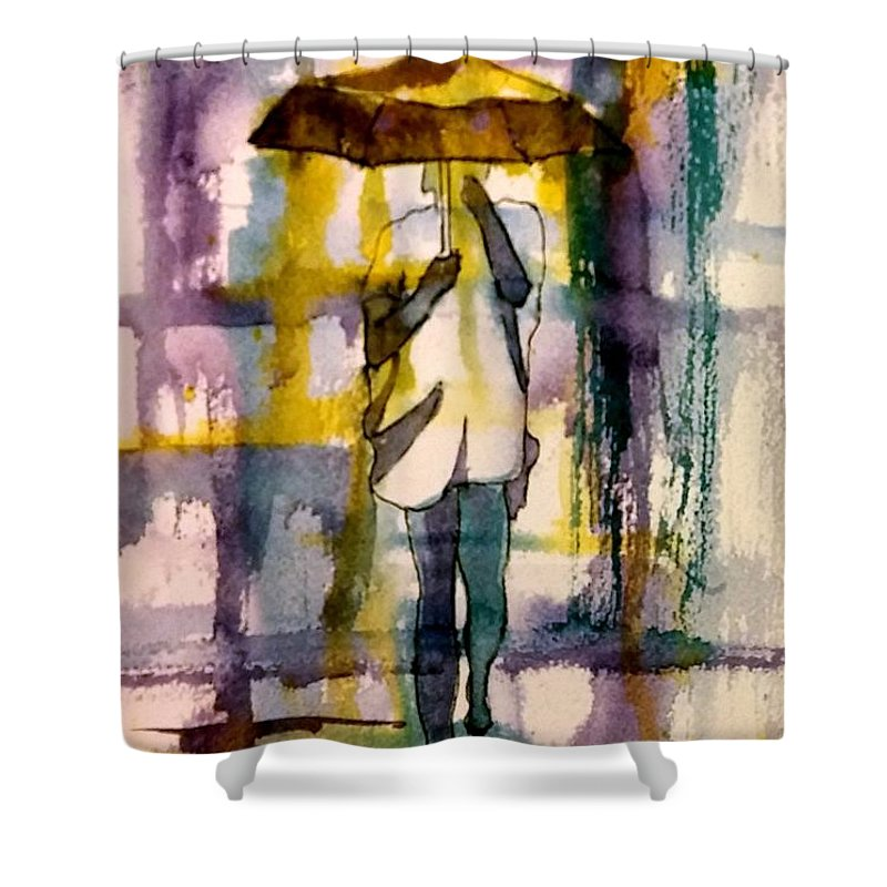 Jo Malone Shower Curtain featuring the painting Jo Malone 2 by Debbie Lewis