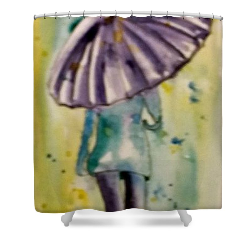 Jo Malone Shower Curtain featuring the painting Jo Malone 6 by Debbie Lewis