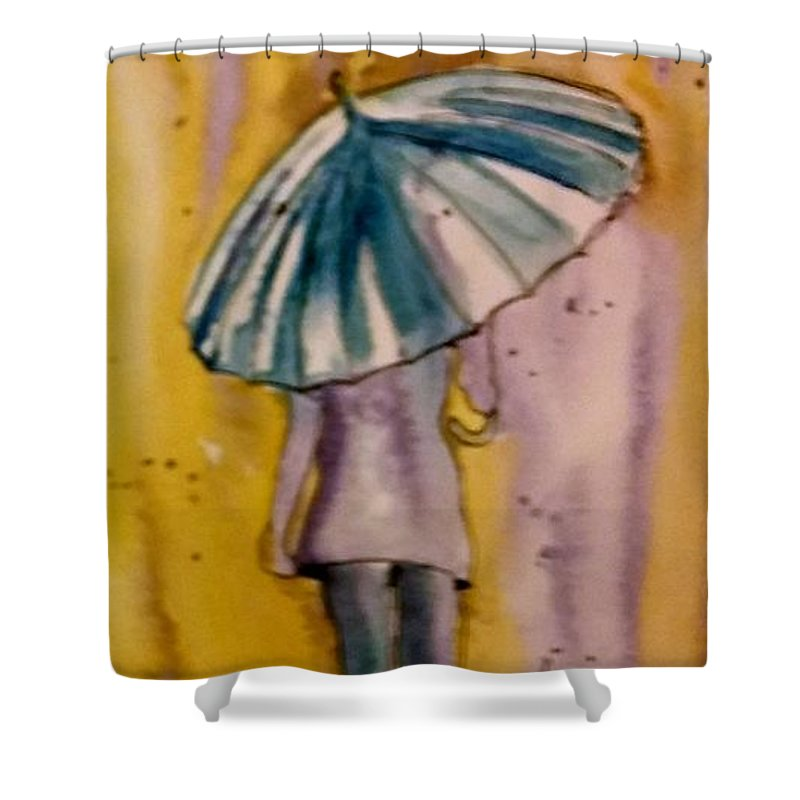 Jo Malone Shower Curtain featuring the painting Jo Malone 4 by Debbie Lewis