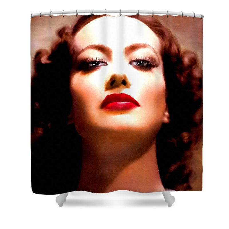 Realism Shower Curtain featuring the painting Joan Crawford by Georgiana Romanovna