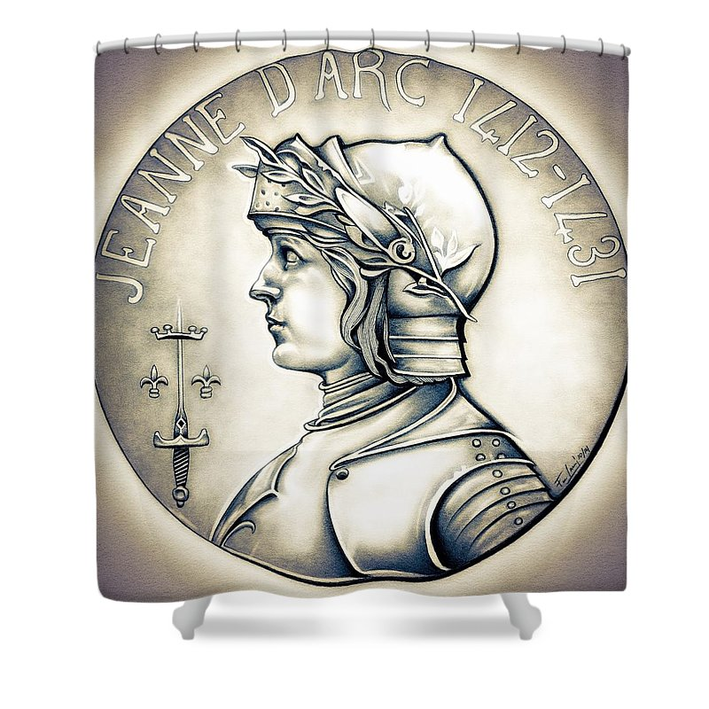 Coin Shower Curtain featuring the drawing Joan Of Arc - Original by Fred Larucci