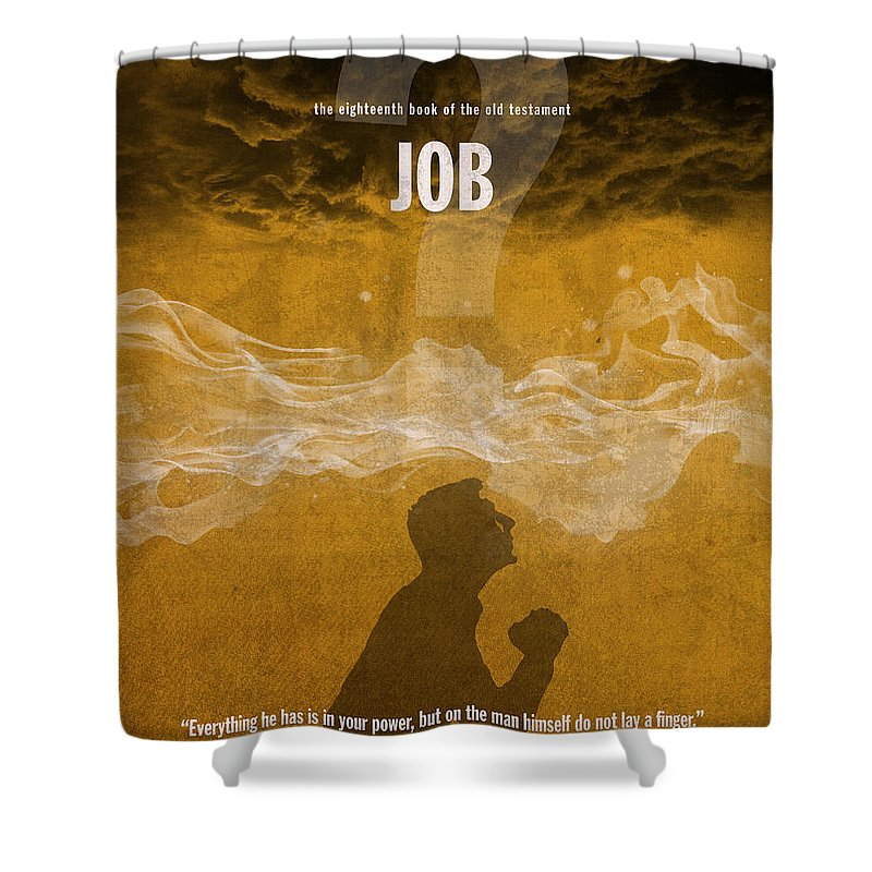 Job Shower Curtain featuring the mixed media Job Books Of The Bible Series Old Testament Minimal Poster Art Number 18 by Design Turnpike
