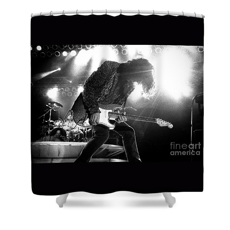 Joe Perry Shower Curtain featuring the photograph Joeperry-gp03 by Timothy Bischoff