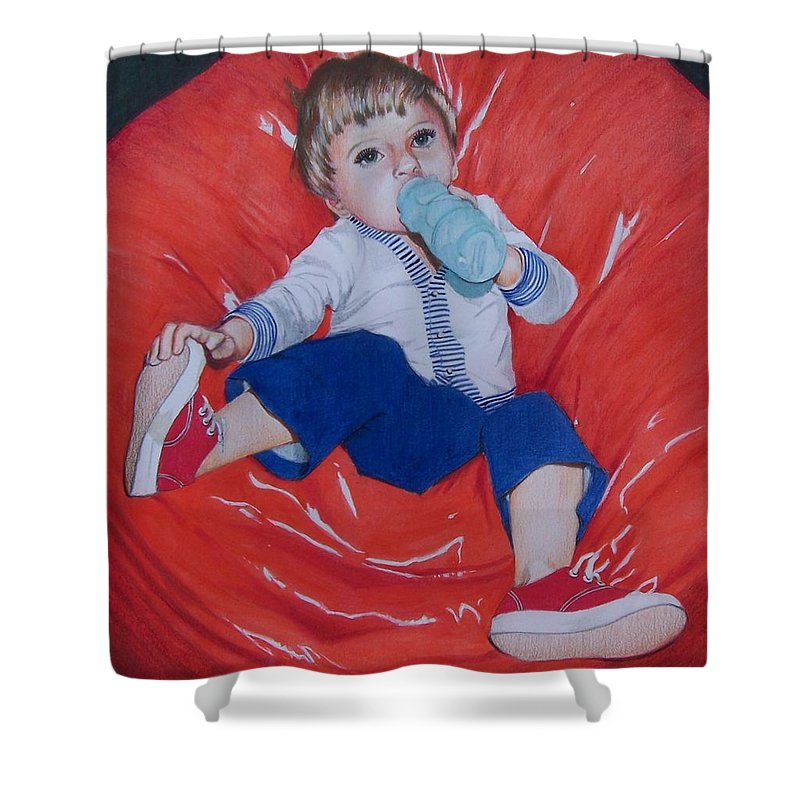 Boy Shower Curtain featuring the mixed media Joey by Constance Drescher