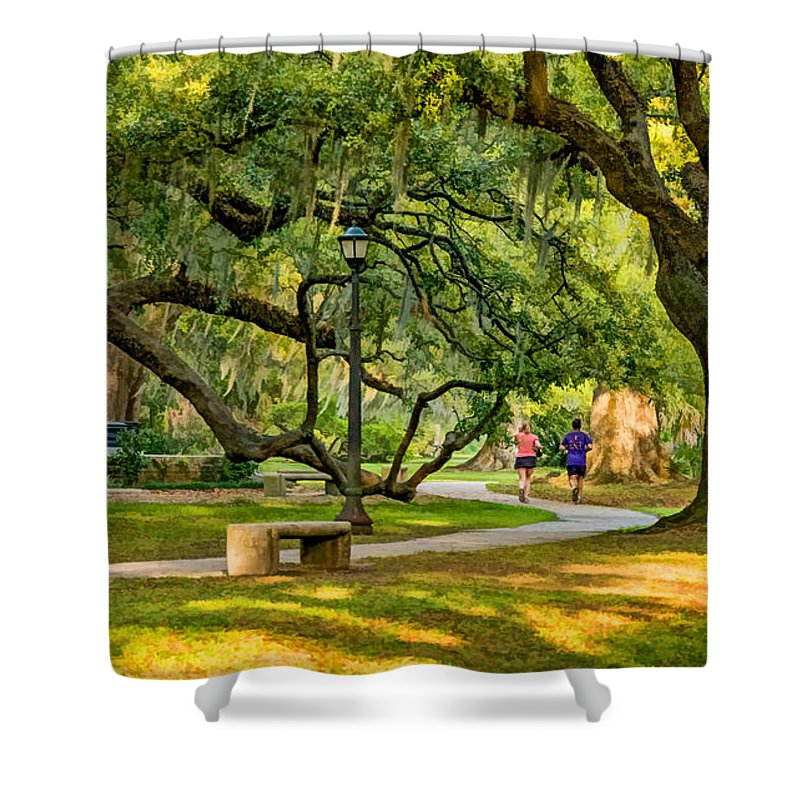 Steve Harrington Shower Curtain featuring the photograph Jogging In City Park by Steve Harrington