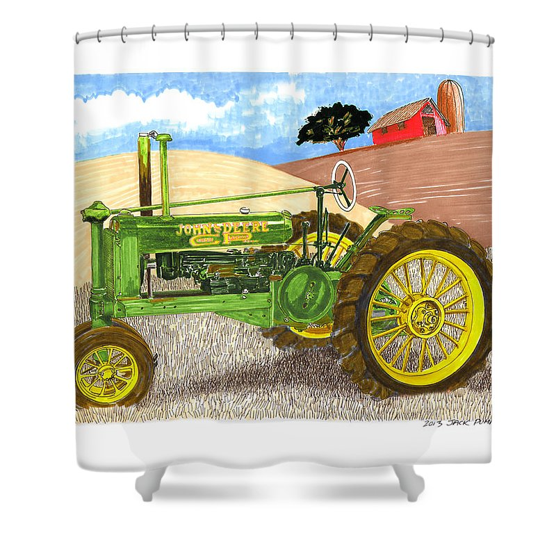 Jacks Car Artwork Of A Vintage John Deere General Purpose Tractor Shower Curtain featuring the painting John Deere At Rest by Jack Pumphrey