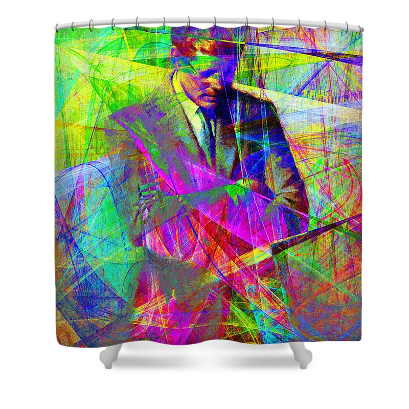 Wingsdomain Shower Curtain featuring the photograph John Fitzgerald Kennedy Jfk In Abstract 20130610 by Wingsdomain Art and Photography