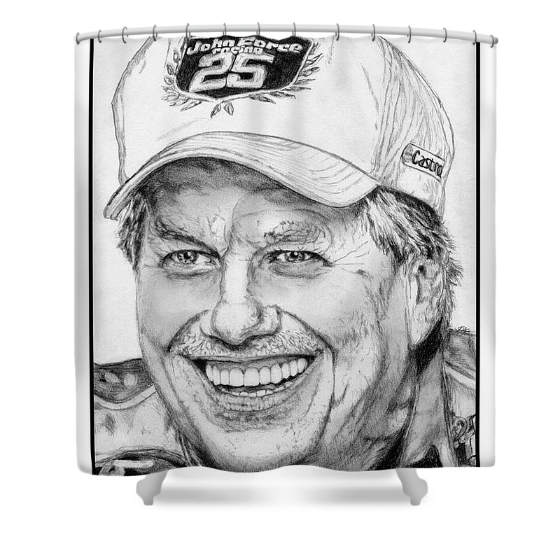 Mccombie Shower Curtain featuring the drawing John Force In 2010 by J McCombie