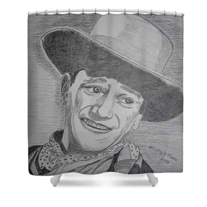 John Wayne Shower Curtain featuring the painting John Wayne by Kathy Marrs Chandler