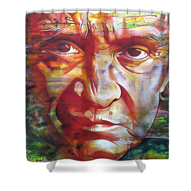 Johnny Cash Shower Curtain featuring the painting Johnny Cash by Joshua Morton