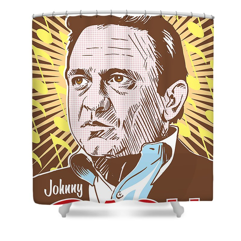 Outlaw Shower Curtain featuring the digital art Johnny Cash Pop Art by Jim Zahniser