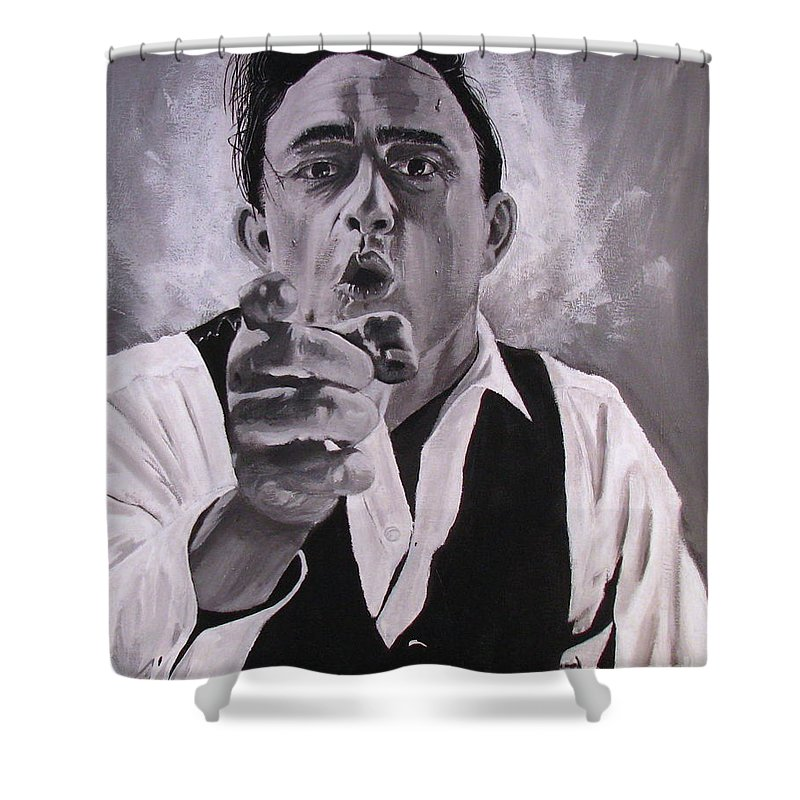 Portraits Shower Curtain featuring the painting Johnny Cash Portrait by M Oliveira