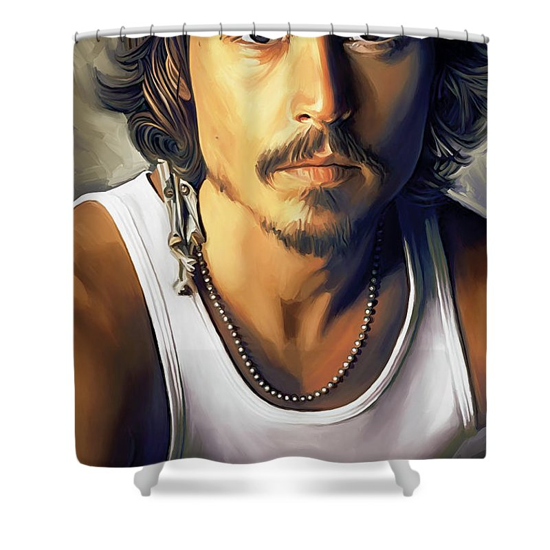 Johnny Depp Paintings Shower Curtain featuring the painting Johnny Depp Artwork by Sheraz A