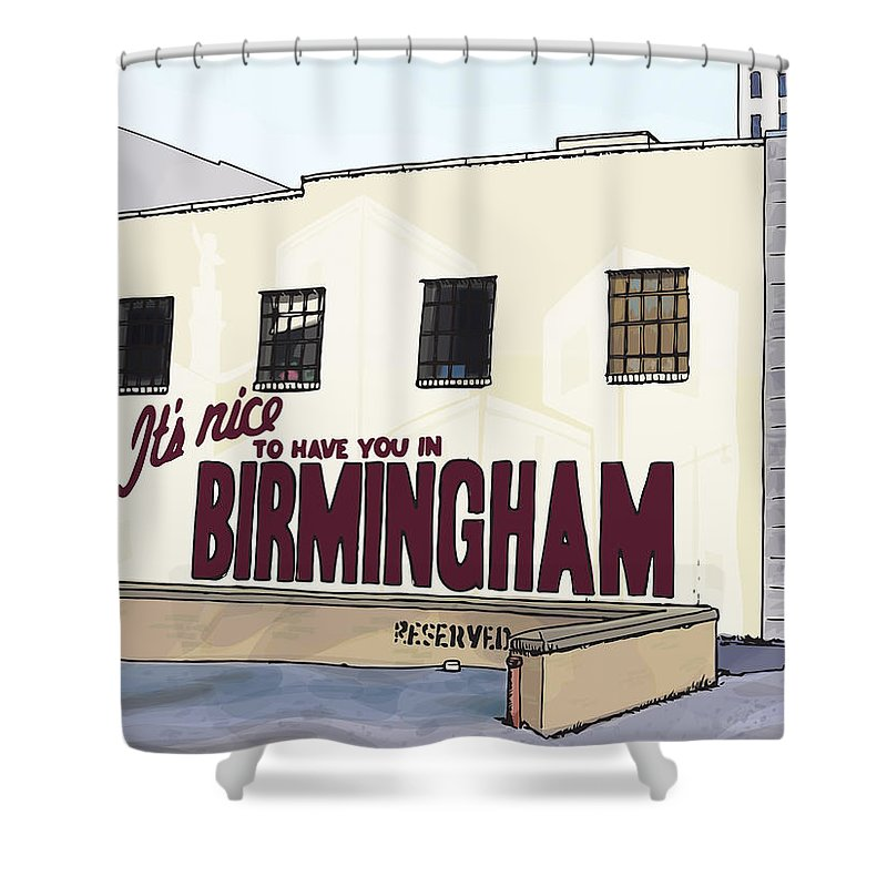 #bham52 Shower Curtain featuring the drawing John's City Diner by Greg Smith