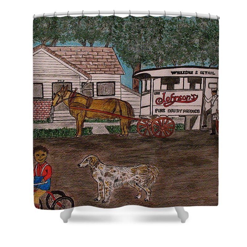 Johnson Creamery Shower Curtain featuring the painting Johnsons Milk Wagon Pulled by a Horse by Kathy Marrs Chandler