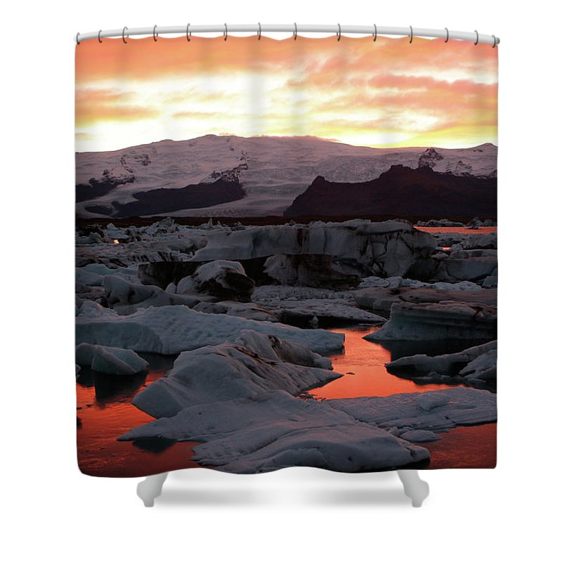Scenics Shower Curtain featuring the photograph Jokulsarlon Lagoon At Sunset by Richard Collins