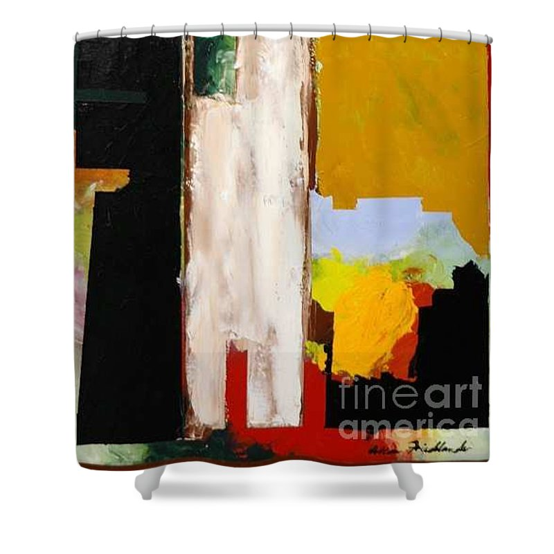 Landscape Shower Curtain featuring the painting Jordan Park 511 by Allan P Friedlander