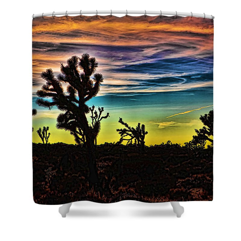 Beige Shower Curtain featuring the photograph Joshua Trees In Cima Valley by Evie Carrier