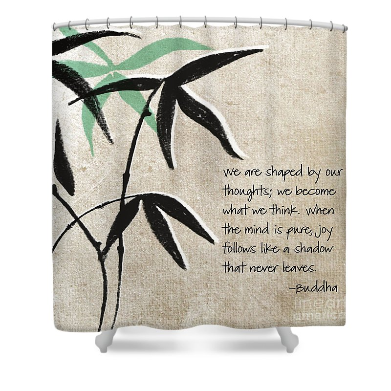 Joy Shower Curtain featuring the mixed media Joy by Linda Woods