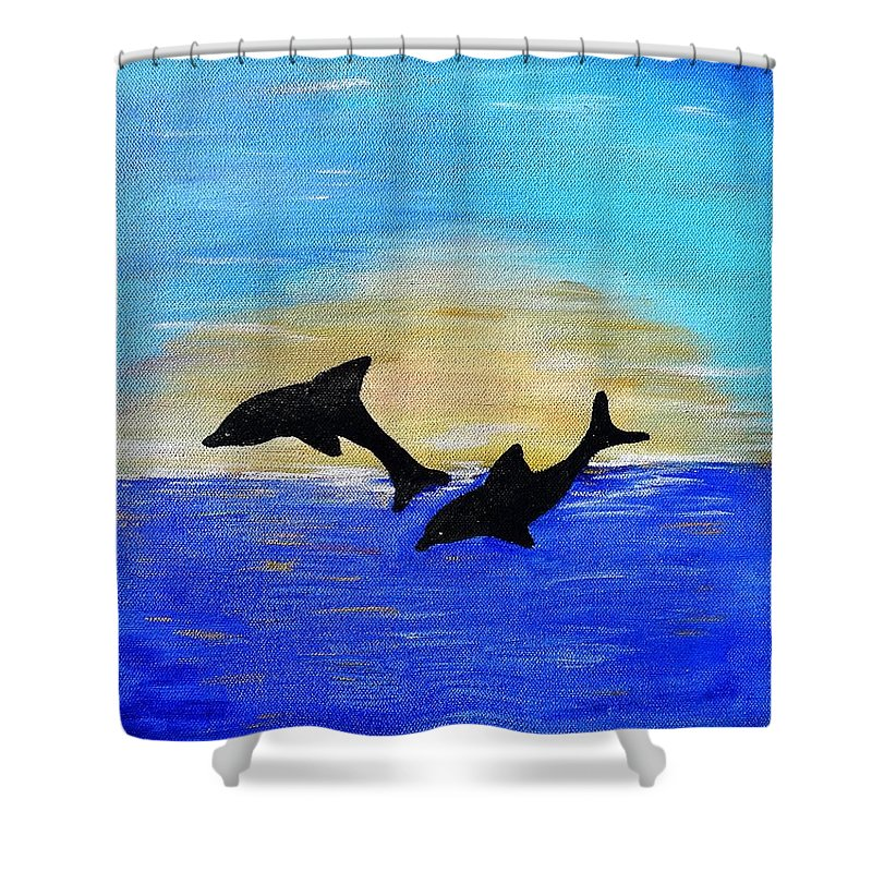 Dolphins Shower Curtain featuring the painting Joyful In Hope by Karen Jane Jones