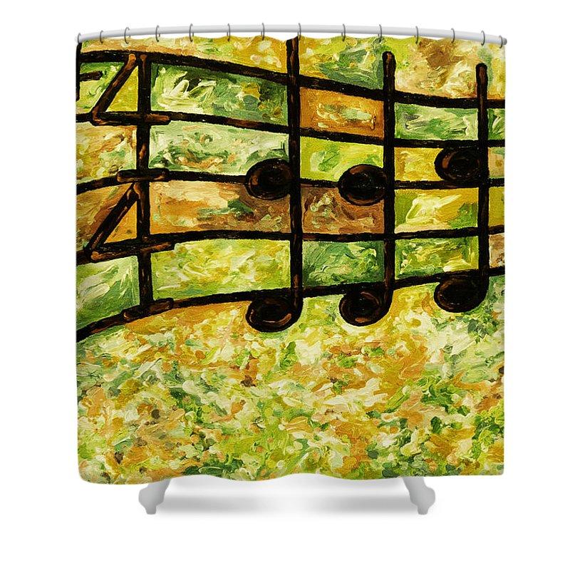 Joyful Shower Curtain featuring the digital art Joyful - Lemon Lime by Julie Turner
