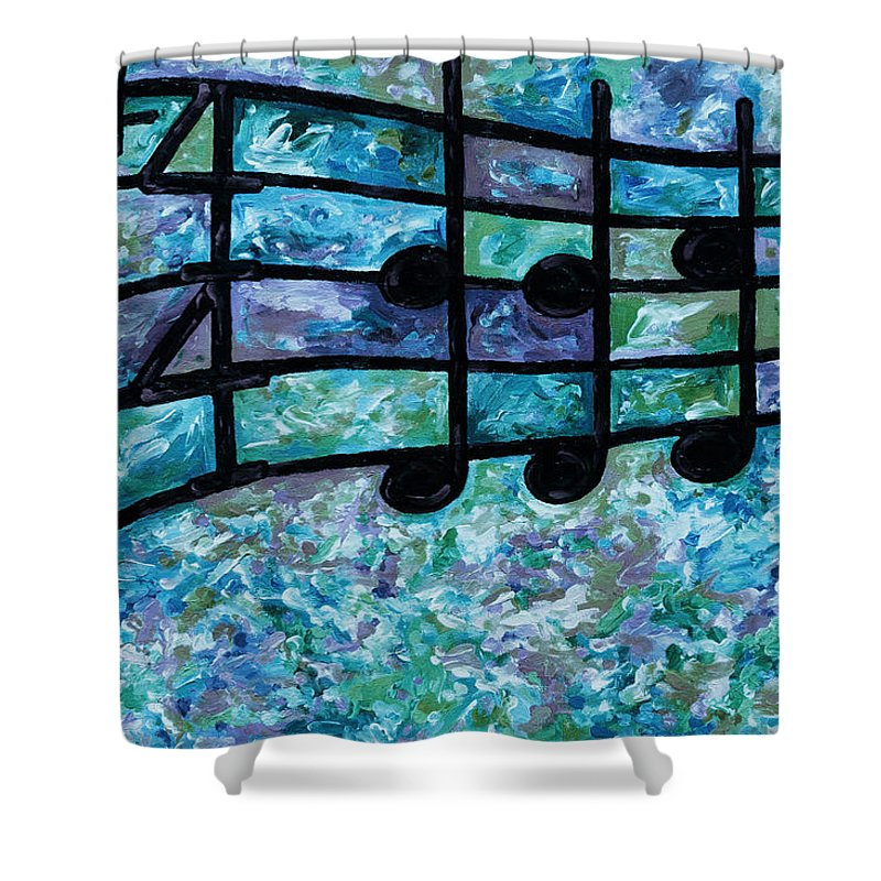 Joyful Shower Curtain featuring the digital art Joyful - Ocean by Julie Turner