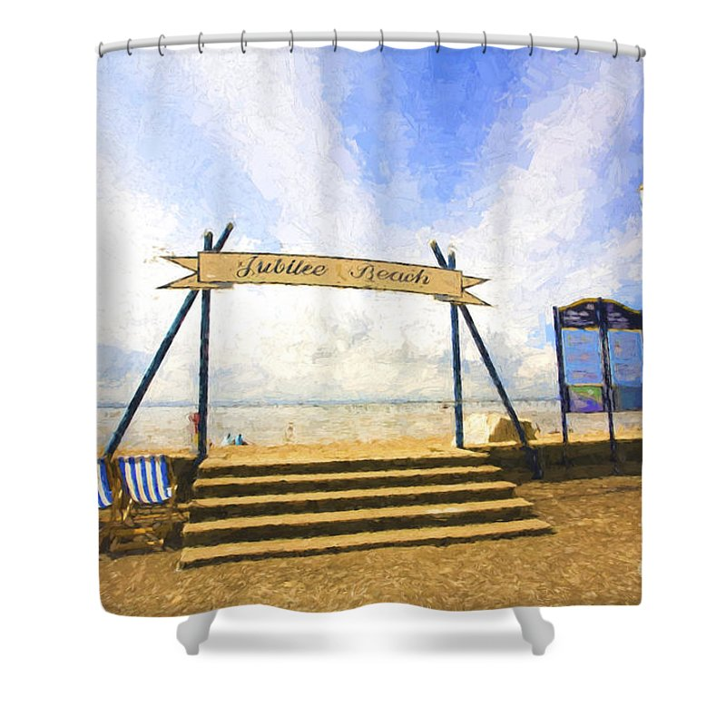 Jubilee Beach Shower Curtain featuring the photograph Jubilee Beach Southend On Sea by Sheila Smart Fine Art Photography