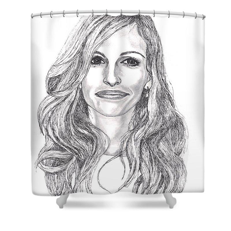 Celebrity Shower Curtain featuring the drawing Julia by Carol Wisniewski