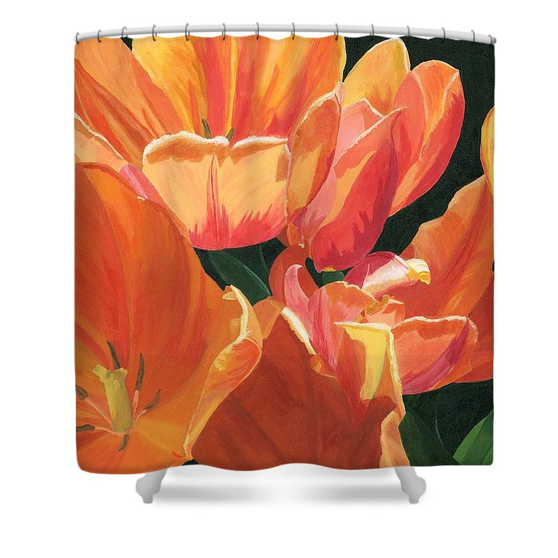 Tulips Shower Curtain featuring the painting Julie's Tulips by Lynne Reichhart