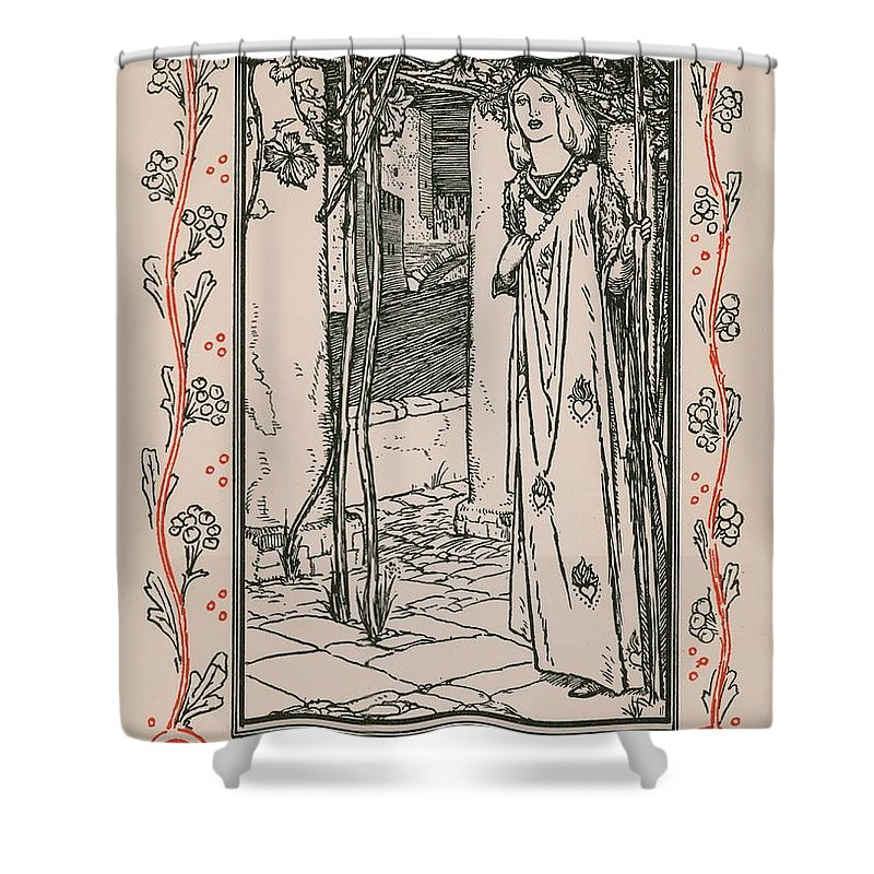 William Shakespeare; Heroine; English Literature; Hero; Character; Female; Juliet; Romeo And Juliet Shower Curtain featuring the drawing Juliet From Romeo And Juliet by Robert Anning Bell