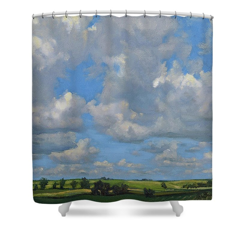Summer Landscape Shower Curtain featuring the painting July In The Valley by Bruce Morrison
