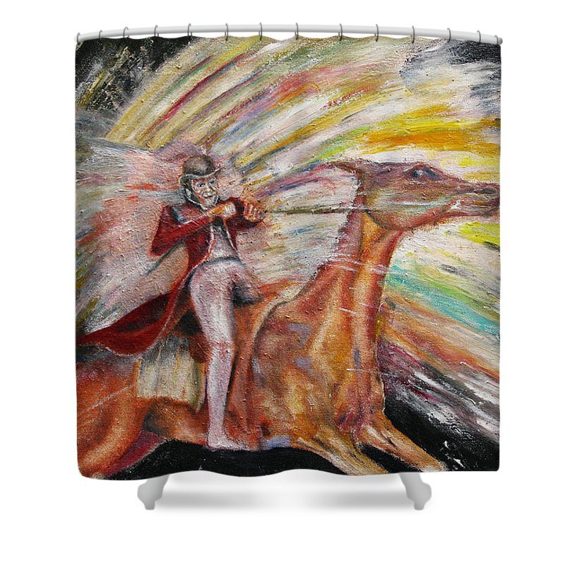 Horses Shower Curtain featuring the painting Jump The Rainbow by Tom Conway